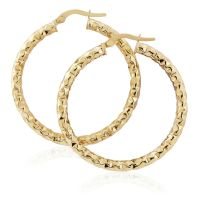 Jewellery 9ct Gold Hammered Hoop Earrings