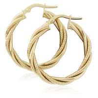 Jewellery 9ct Gold Twist Hoop Earrings