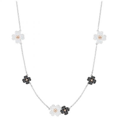Ladies Swarovski Two-Tone Steel and Rose Plate Latisha Flower Necklace 5389491