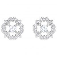 Ladies Swarovski Silver Plated Sparkling Dance Flower Stud Earrings 5396227