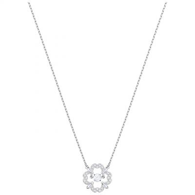 Ladies Swarovski Silver Plated Sparkling Dance Flower Necklace 5392759
