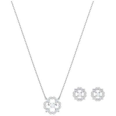 Ladies Swarovski Silver Plated Sparkling Dance Flower Earring & Necklace Set 5397867