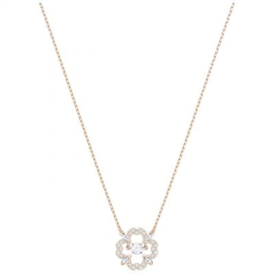 Ladies Swarovski Rose Gold Plated Sparkling Dance Flower Necklace 5408437