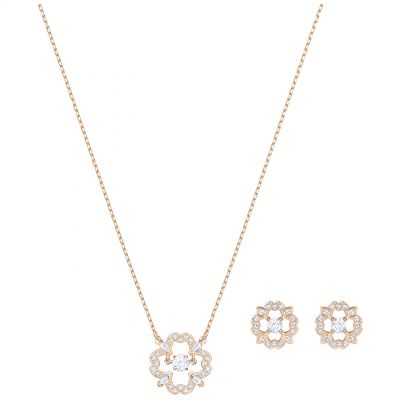 Ladies Swarovski Rose Gold Plated Sparkling Dance Flower Earring & Necklace Set 5408439