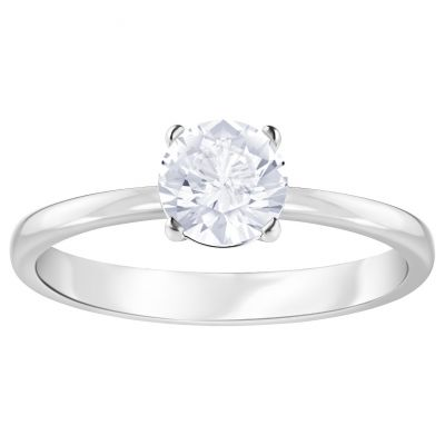 Ladies Swarovski Silver Plated Attract Solitaire Ring Size N 5368542