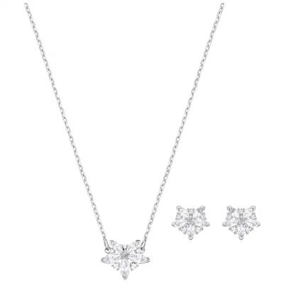 Ladies Swarovski Silver Plated Lady Necklace & Earring Set 5408432