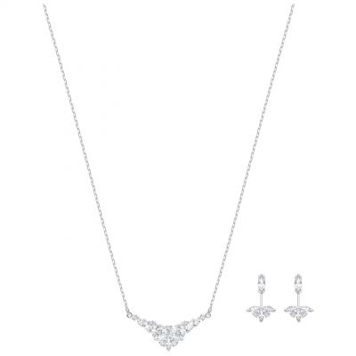 Ladies Swarovski Silver Plated Lady Necklace & Earring Set 5390188