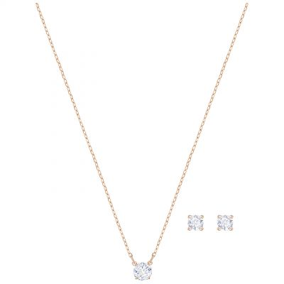 Ladies Swarovski Rose Gold Plated Attract Earring & Necklace Set 5408433