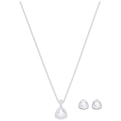 Ladies Swarovski Silver Plated Begin Earring & Necklace Set 5373640