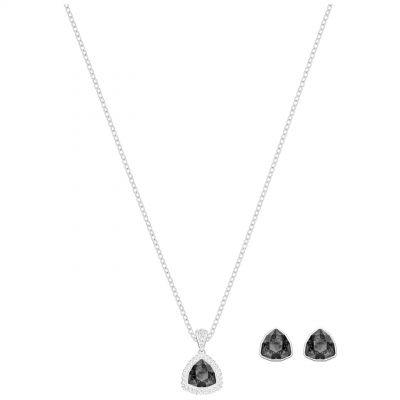 Ladies Swarovski Silver Plated Begin Earring & Necklace Set 5373641