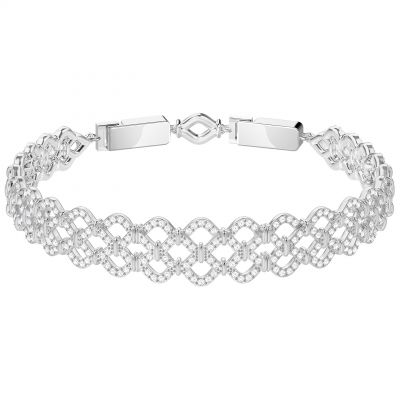 Ladies Swarovski Silver Plated Lace Bracelet 5371379