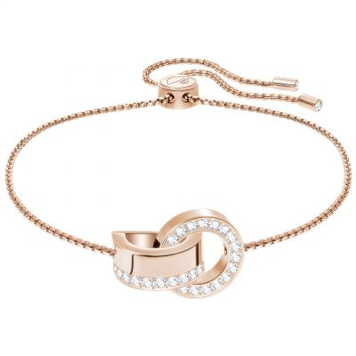 Ladies Swarovski Rose Gold Plated Hollow Interlink Slider Bracelet 5368040