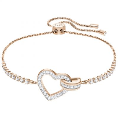 Ladies Swarovski Rose Gold Plated Lovely Heart Slider Bracelet 5368541