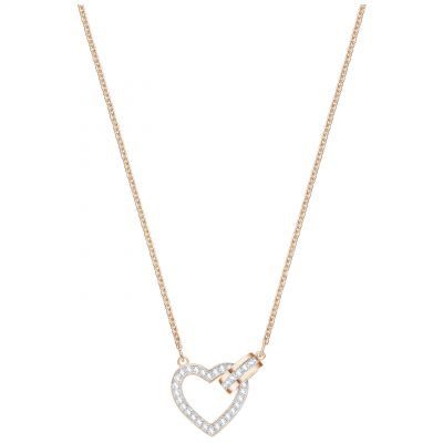 Ladies Swarovski Rose Gold Plated Lovely Heart Necklace 5368540