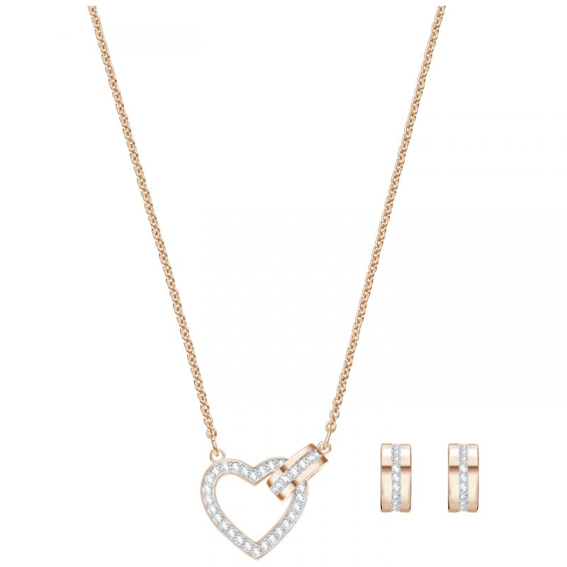 Swarovski Dam Lovely Heart Earring & Necklace Set Roséguldspläterad 5380718