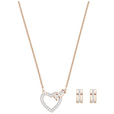 Ladies Swarovski Rose Gold Plated Lovely Heart Earring & Necklace Set 5380718