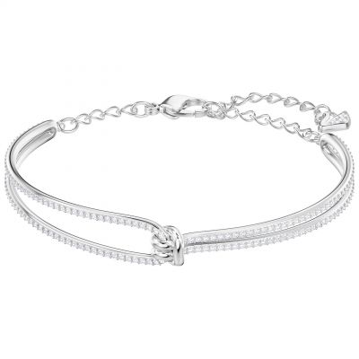 Ladies Swarovski Silver Plated Lifelong Knot Bangle 5368552