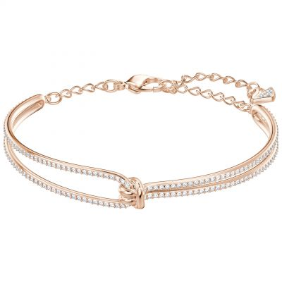 Ladies Swarovski Rose Gold Plated Lifelong Knot Bangle 5390818