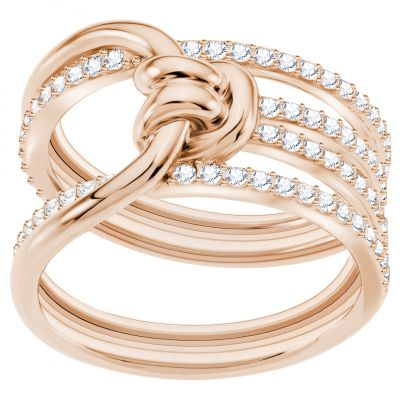 Ladies Swarovski Rose Gold Plated Lifelong Ring Size Q.5 5369797