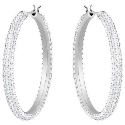 Ladies Swarovski Silver Plated Stone Hoop Earrings 5389432
