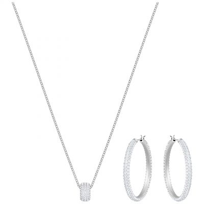 Ladies Swarovski Silver Plated Stone Earring & Necklace Set 5408456