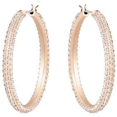 Ladies Swarovski Rose Gold Plated Stone Hoop Earrings 5383938