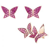 Ladies Swarovski Rose Gold Plated Lilia Butterfly Stud Earrings Set 5378694