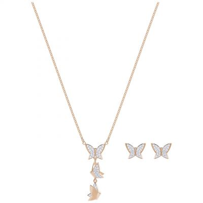 Ladies Swarovski Rose Gold Plated Lilia Butterfly Earring & Necklace Set 5382365