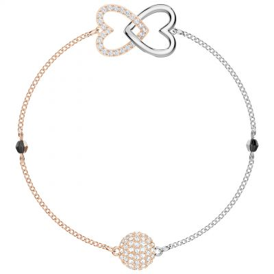 Ladies Swarovski Two-Tone Steel and Rose Plate Remix Forever Heart Bracelet 5375199