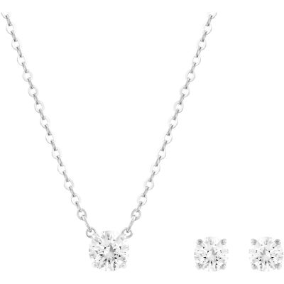 Ladies Swarovski Silver Plated Attract Earring & Necklace Set 5113468