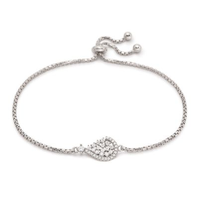 Ladies Folli Follie Sterling Silver Sparkle Chic CZ Tear Bracelet 5010.3853