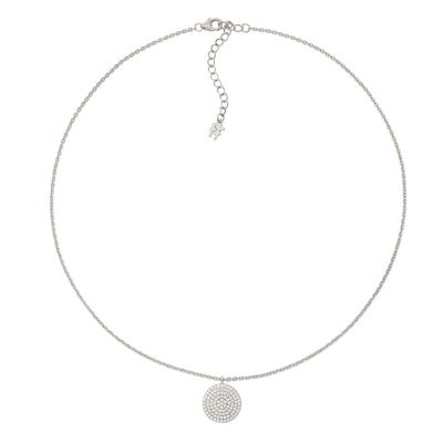 Ladies Folli Follie Sterling Silver Discus CZ Necklace 5020.3541