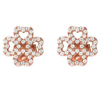 Ladies Folli Follie Rose Gold Plated Sterling Silver Miss H4H CZ Stud Earrings 5040.3030