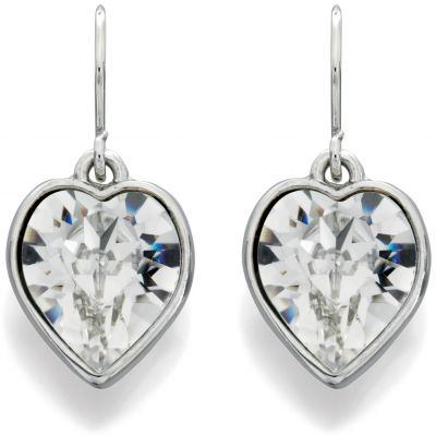 Ladies Fiorelli Silver Plated Crystal Heart Earrings XE4839