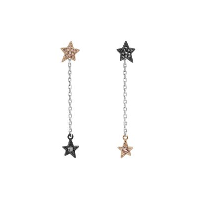 Karl Lagerfeld Dames Star & Chain Earrings Tweetonig staal en verguld Rose 5420762