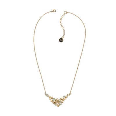 Karl Lagerfeld Dames Pyramid Cluster V Necklace Verguld Rose Goud 5420674