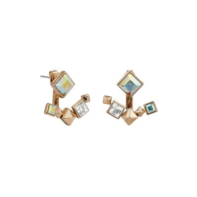 Karl Lagerfeld Dames Pyramid Jacket Earrings Verguld Rose Goud 5420737