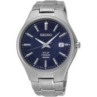 Mens Seiko Solar Titanium Solar Powered Watch SNE381P9