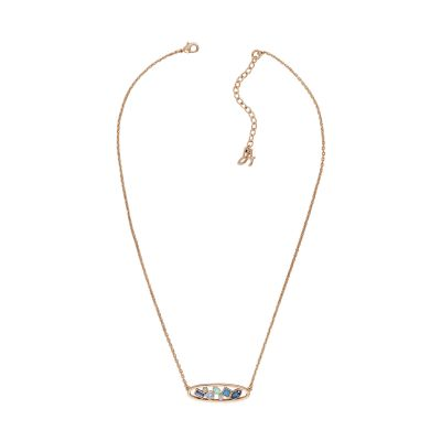 Adore Dames Mixed Crystal Oval Necklace Verguld Rose Goud 5419427