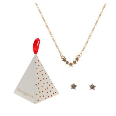 Ladies Johnny Loves Rosie Gold Plated Star Necklace & Earring Gift Set JLRGIFT12