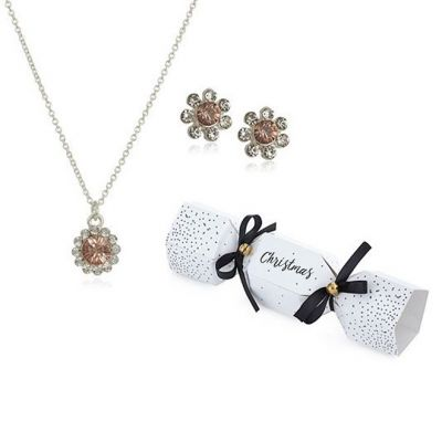 Ladies Johnny Loves Rosie Silver Plated Flower Christmas Cracker Earring & Necklace Gift Set JLRCRACKER4