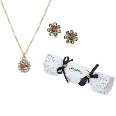 Johnny Loves Rosie Dames Flower Christmas Cracker Earring & Necklace Gift Set Verguld goud JLRCRACKER3