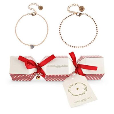 Ladies Johnny Loves Rosie Gold Plated Heart Double Bracelet Cracker Gift Set JLRCRACKER7