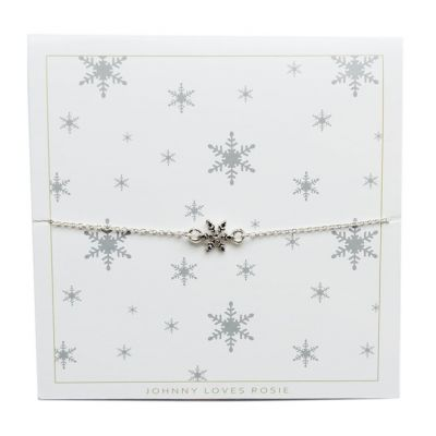 Ladies Johnny Loves Rosie Silver Plated Snowflake Bracelet JLRCARD2
