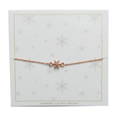 Ladies Johnny Loves Rosie Rose Gold Plated Snowflake Bracelet JLRCARD3