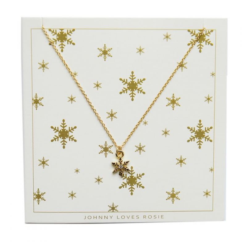Ladies Johnny Loves Rosie Gold Plated Snowflake Necklace JLRCARD4