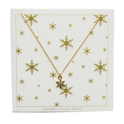 Johnny Loves Rosie Dames Snowflake Necklace Verguld goud JLRCARD4