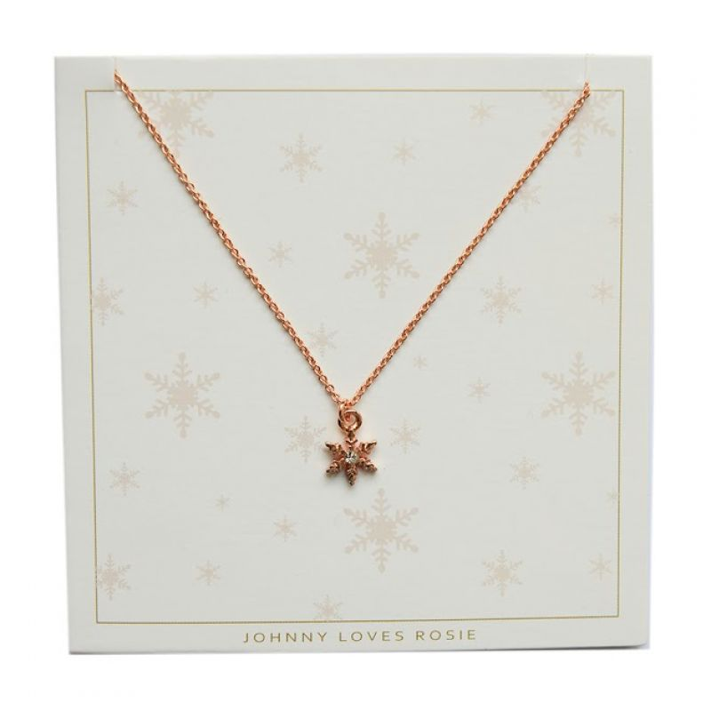 Ladies Johnny Loves Rosie Rose Gold Plated Snowflake Necklace JLRCARD5