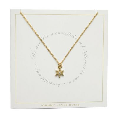 Ladies Johnny Loves Rosie Gold Plated Snowflake Necklace JLRCARD6