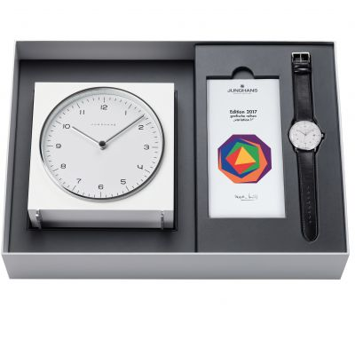 Junghans Max Bill 2017 Edition Clock Gift Set Herrenuhr in Schwarz 363/2715.00